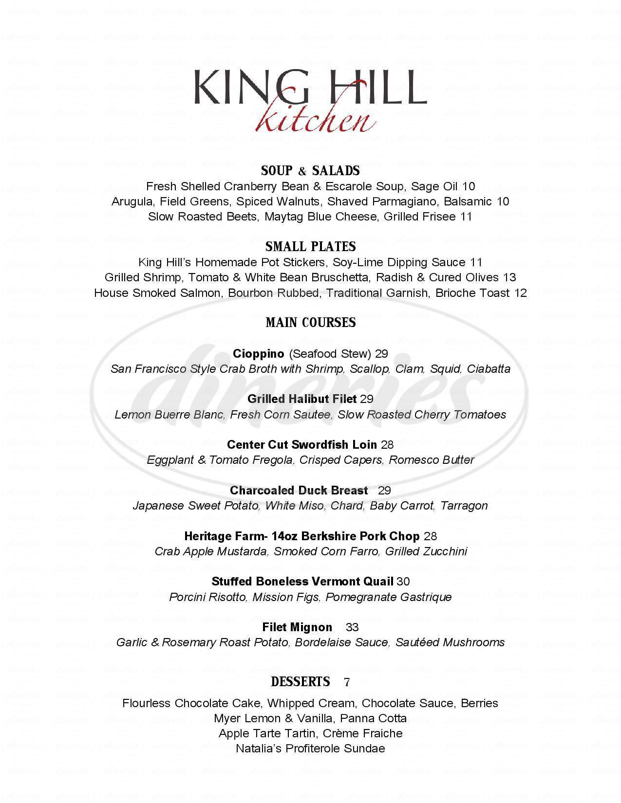 menu for King Hill Kitchen