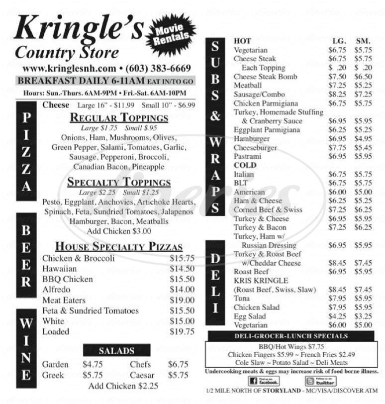 menu for Kringle's Country Store