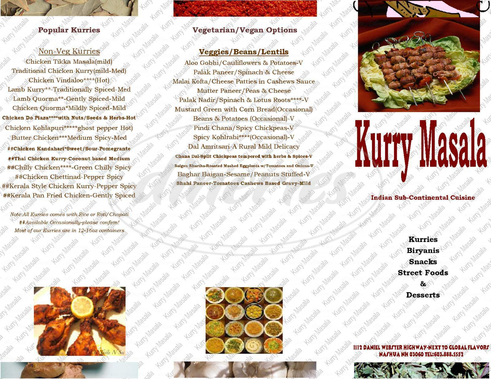 menu for Kurry Masala