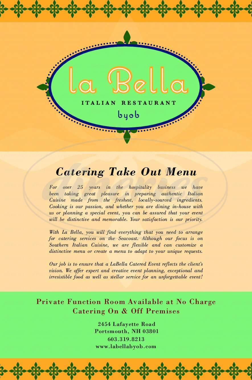 menu for LaBella BYOB