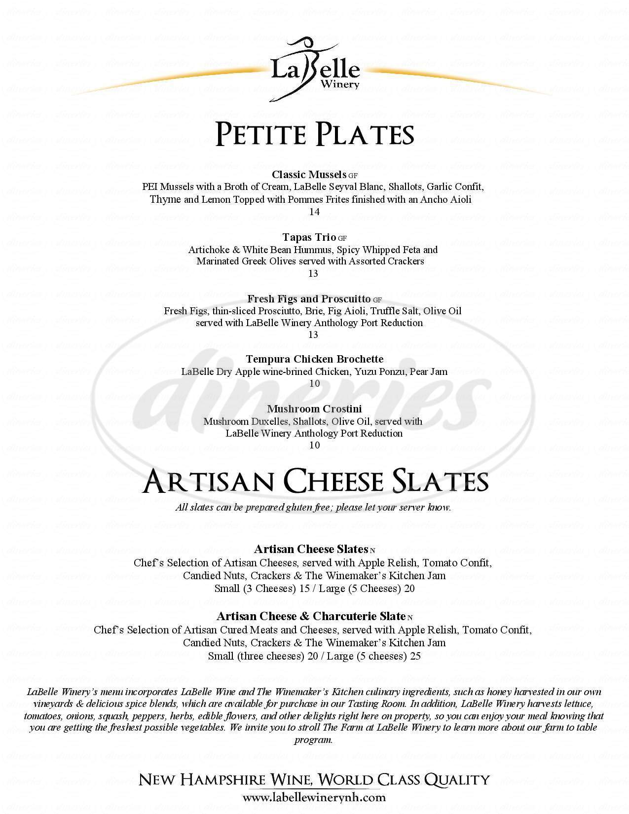 menu for Labelle Winery