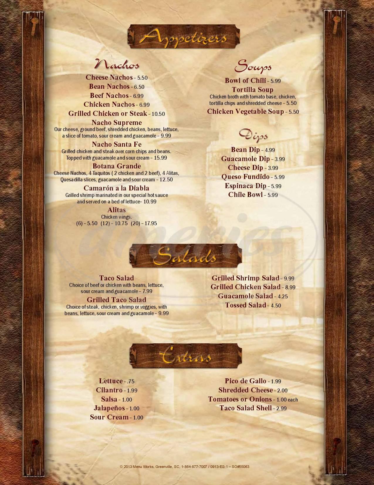 menu for La Carreta Restaurante Mexicano