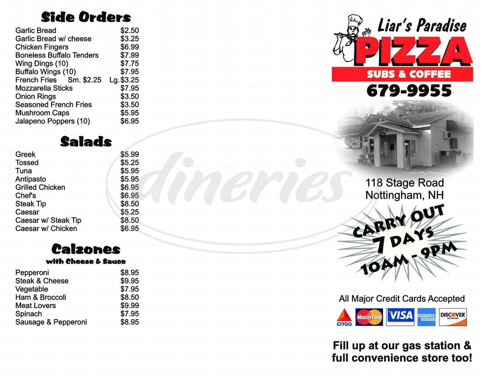 menu for Liar's Paradise Pizza