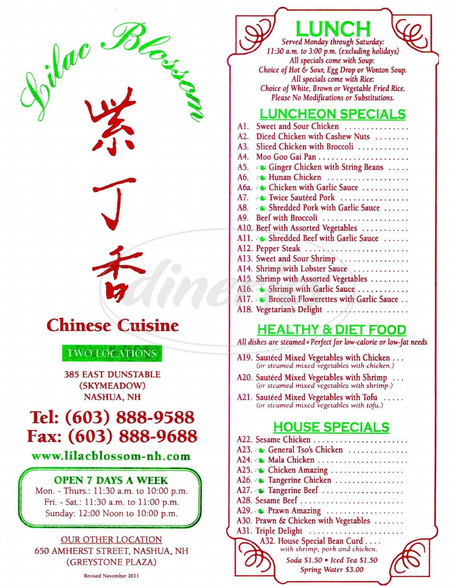 menu for Lilac Blossom Restaurant