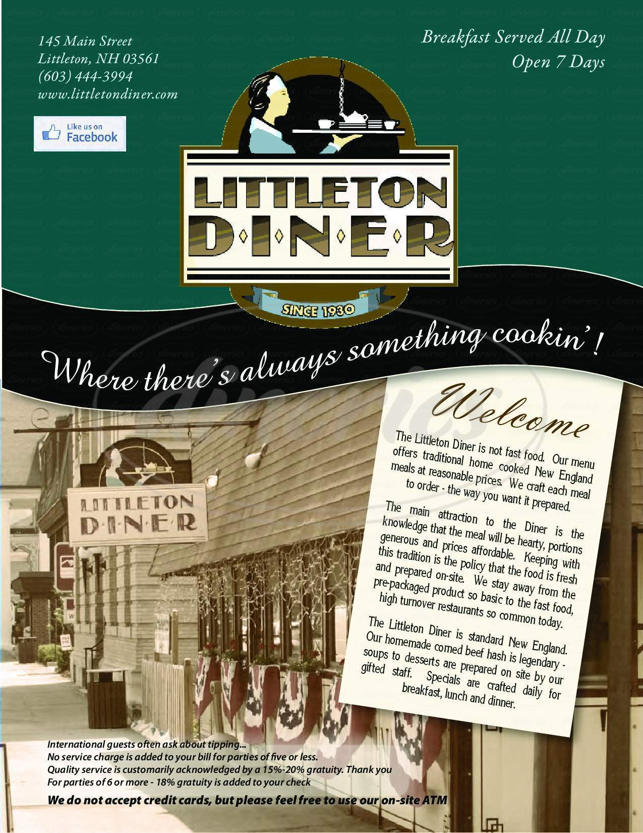 menu for Littleton Diner