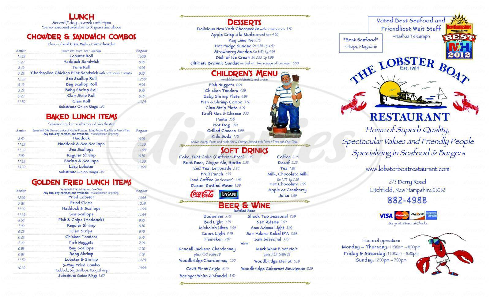 menu for Lobster Boat Restaurant