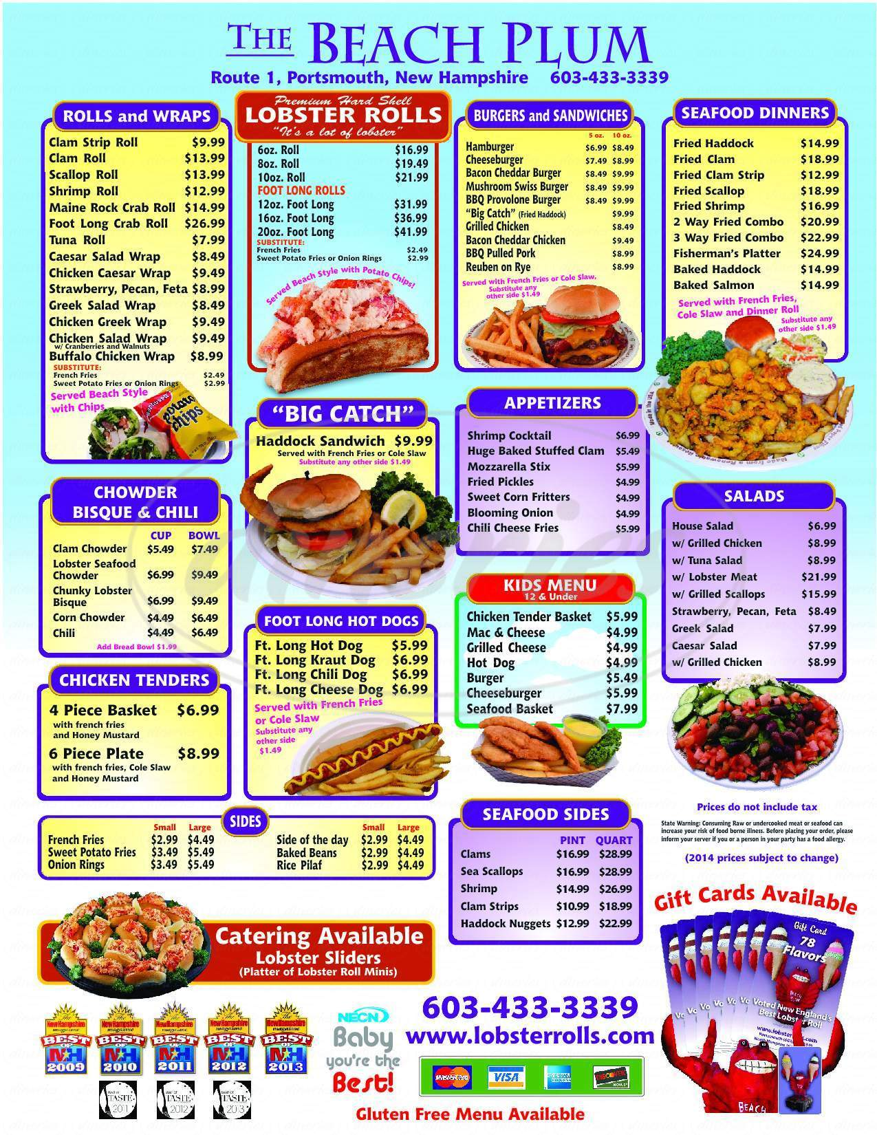 menu for Beach Plum