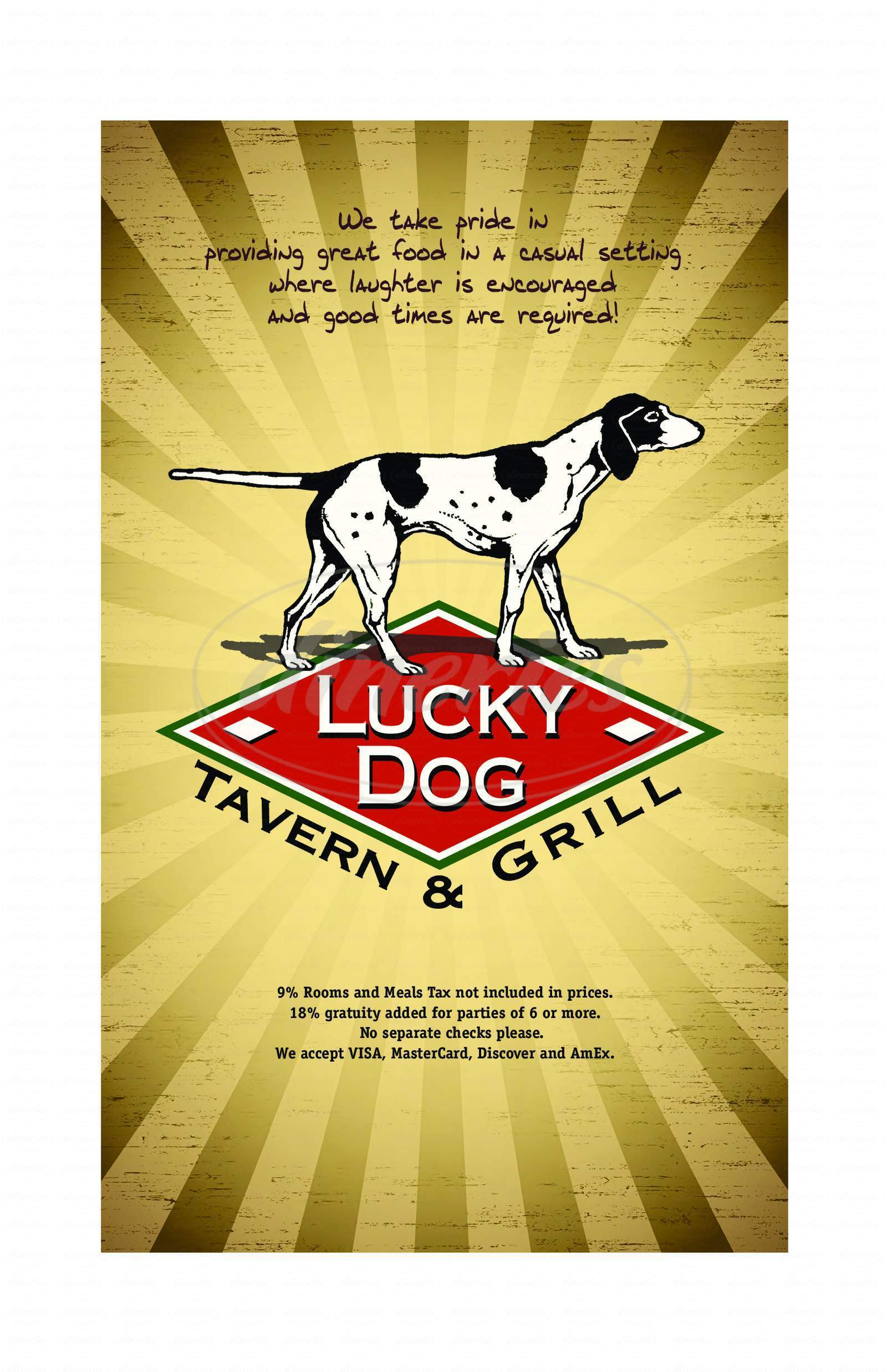 menu for Lucky Dog Tavern & Grill