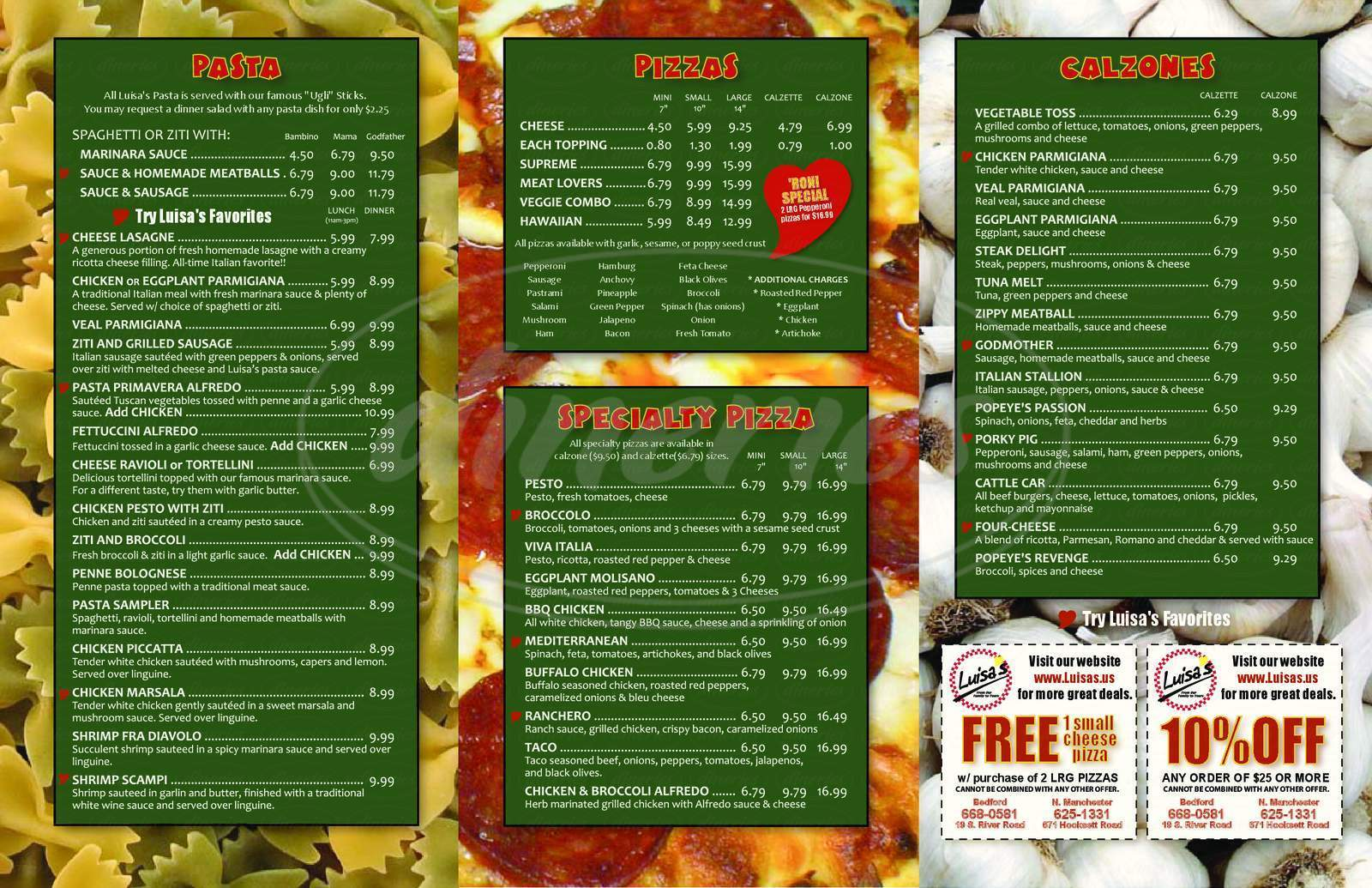 menu for Luisa's Italian Pizzeria