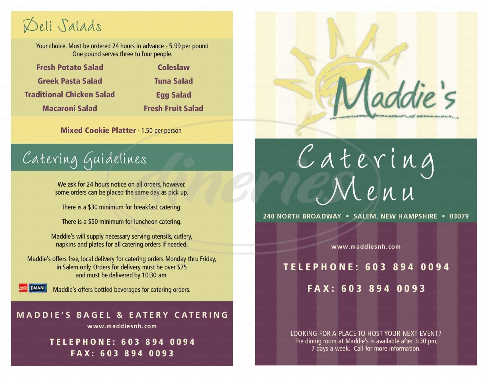 menu for Maddie's Bagel & Eatery