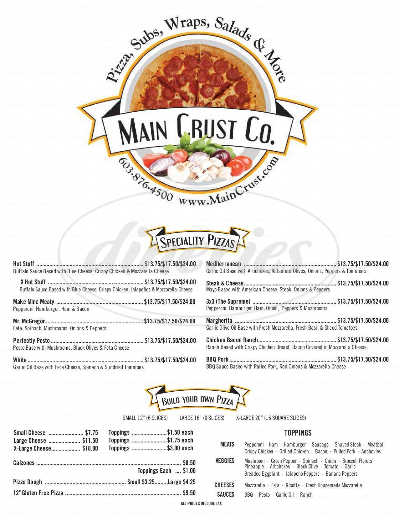 menu for Main Crust Co