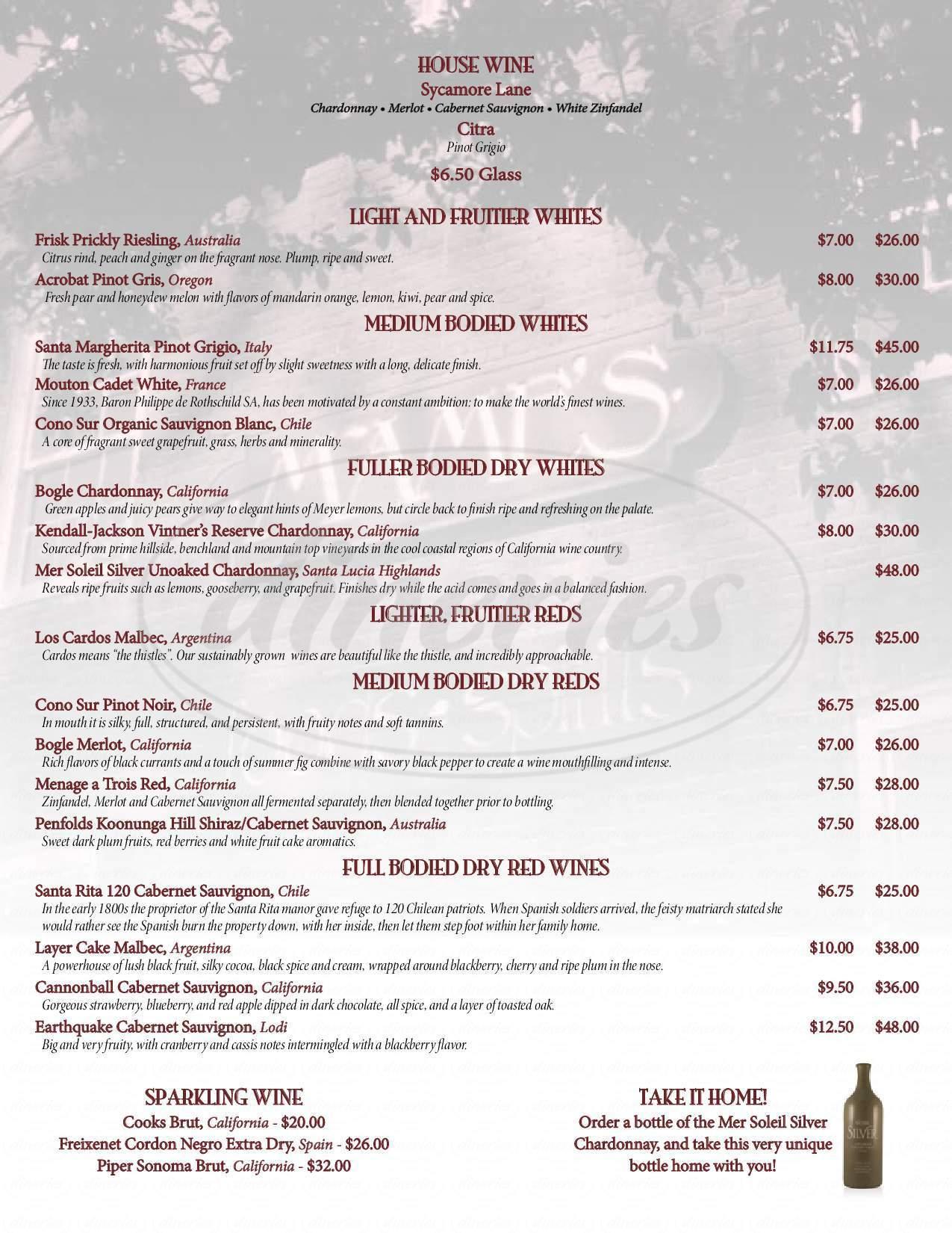 menu for Mame's