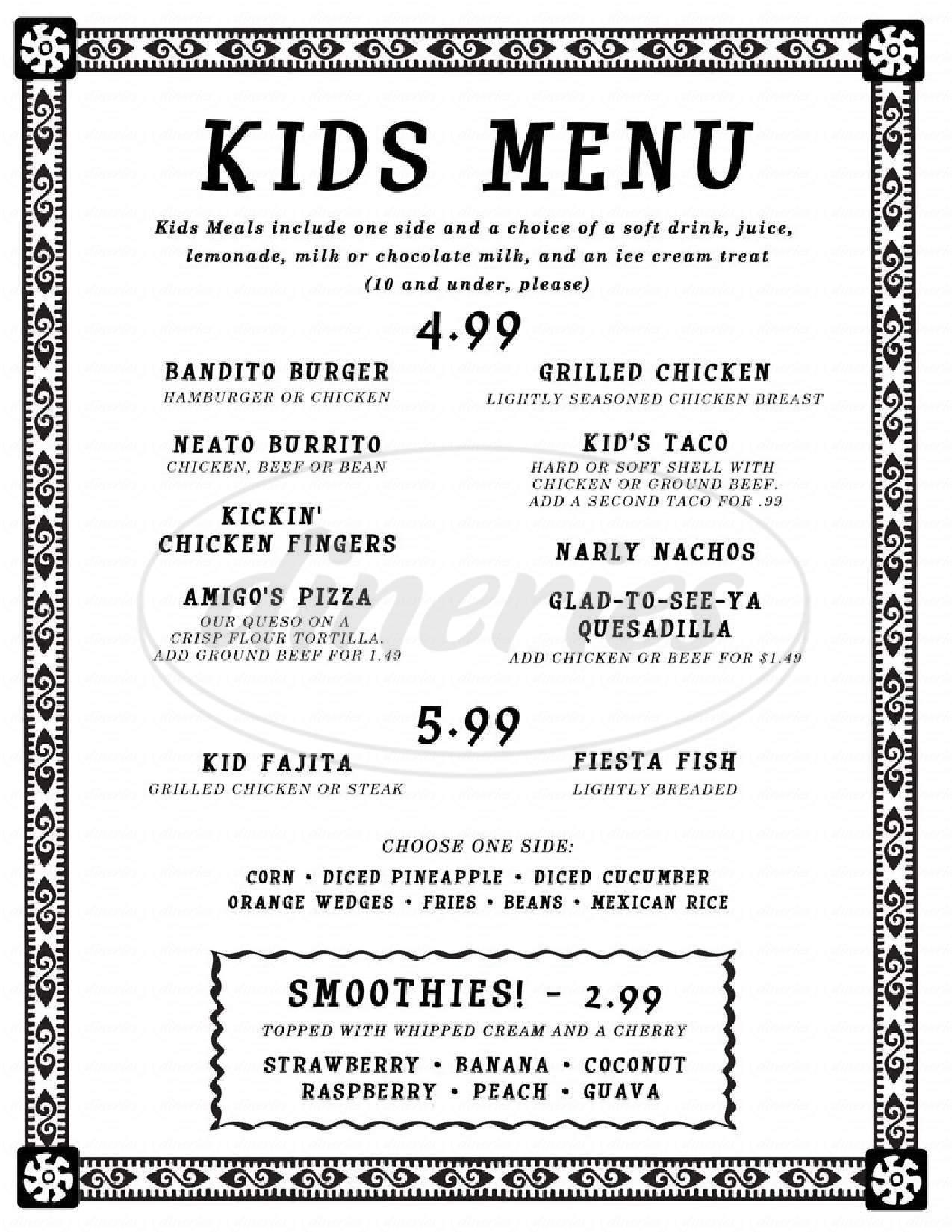 menu for Margaritas