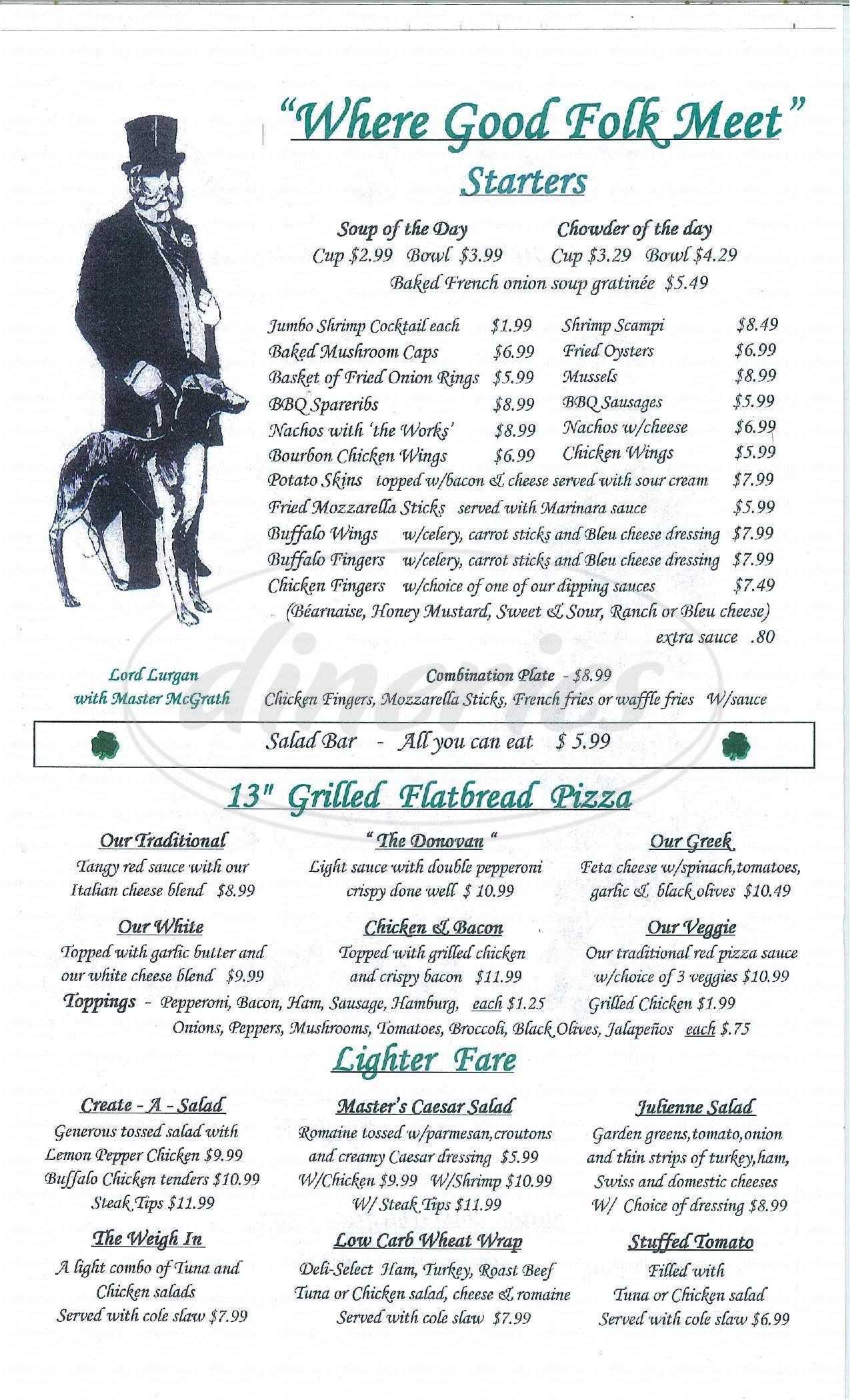menu for Master McGrath's