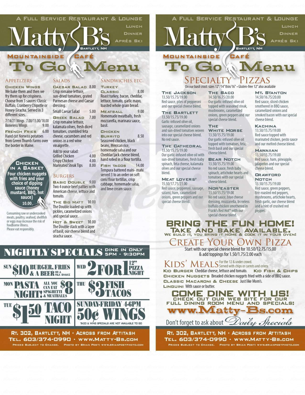 menu for Matty B's Mountainside Cafe