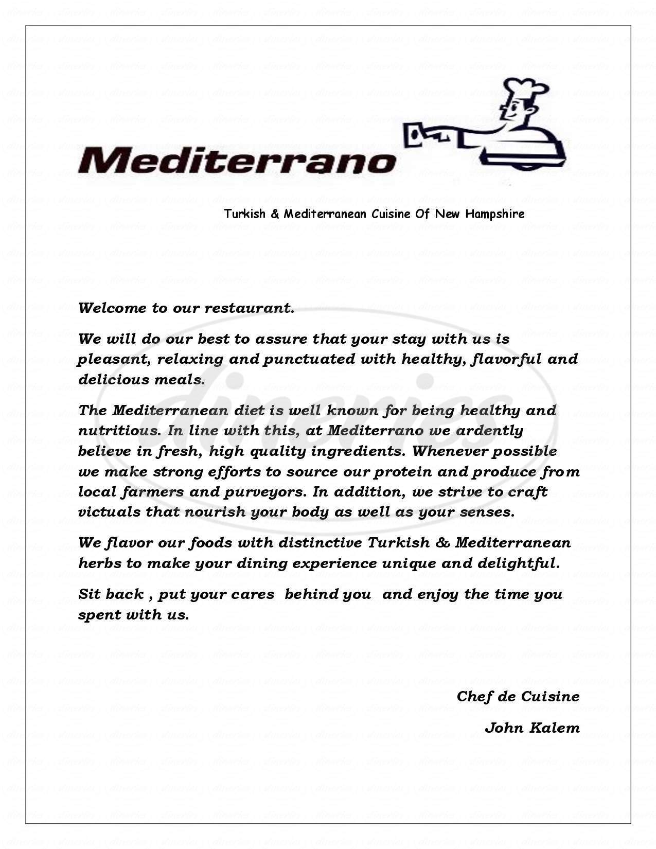 menu for Mediterrano Take-Out & Dining