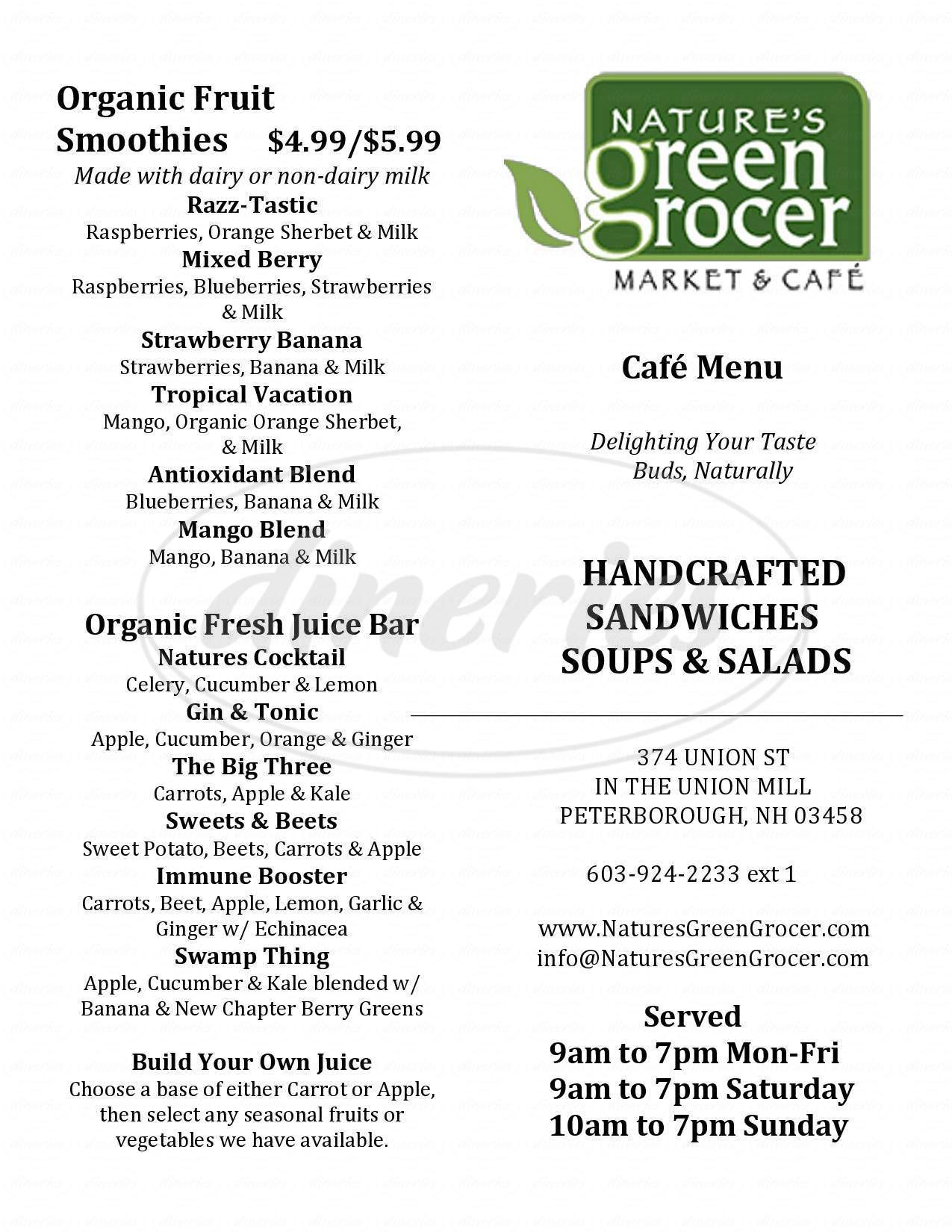 menu for Nature's Green Grocer