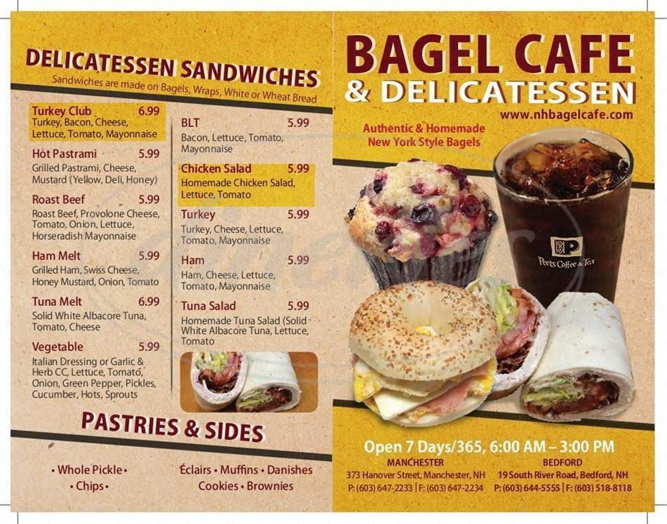 menu for Bagel Cafe