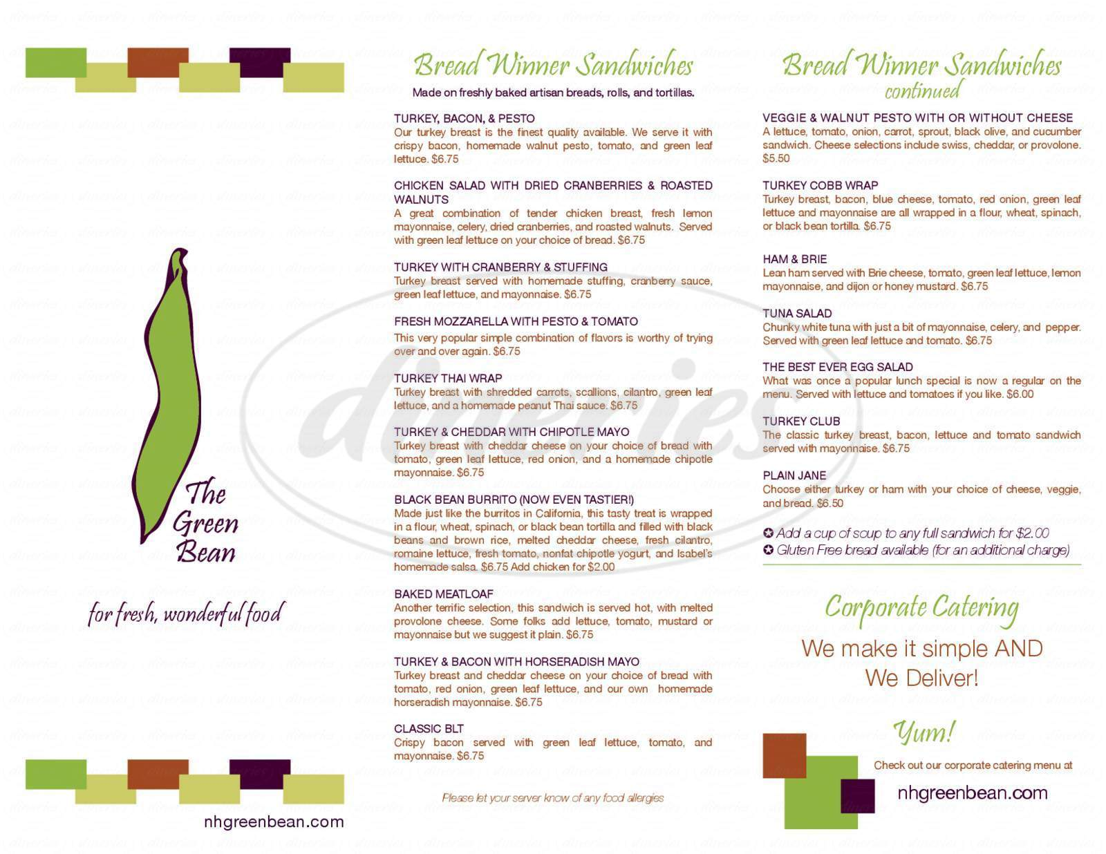 menu for Green Bean On Water