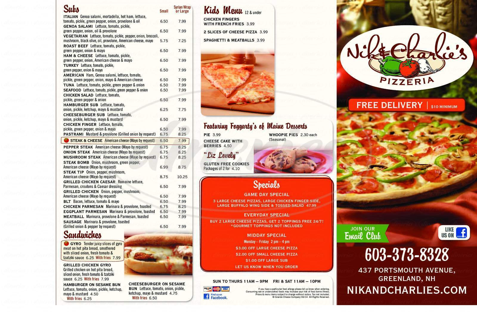 menu for Nik & Charlies Pizzeria