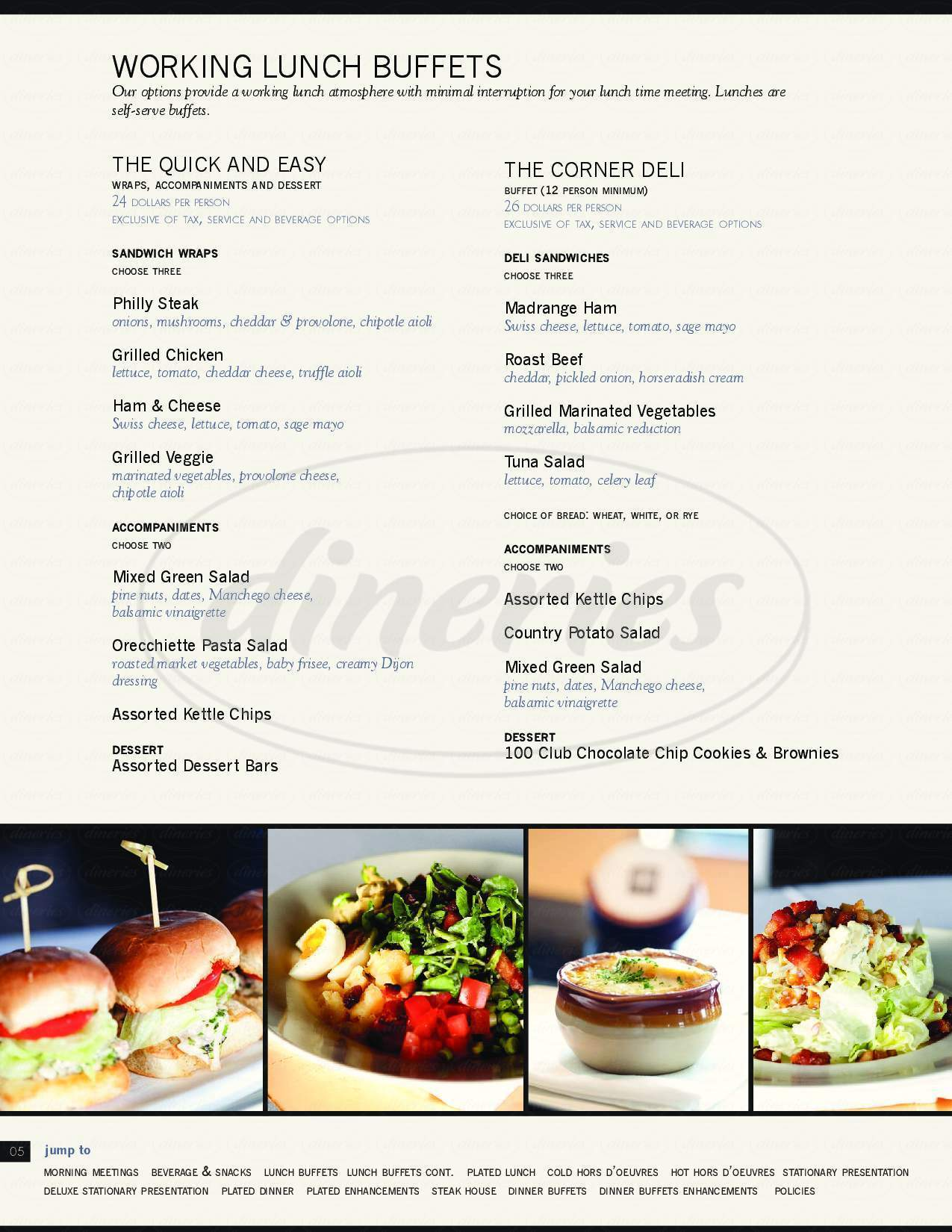 menu for The One Hundred Club