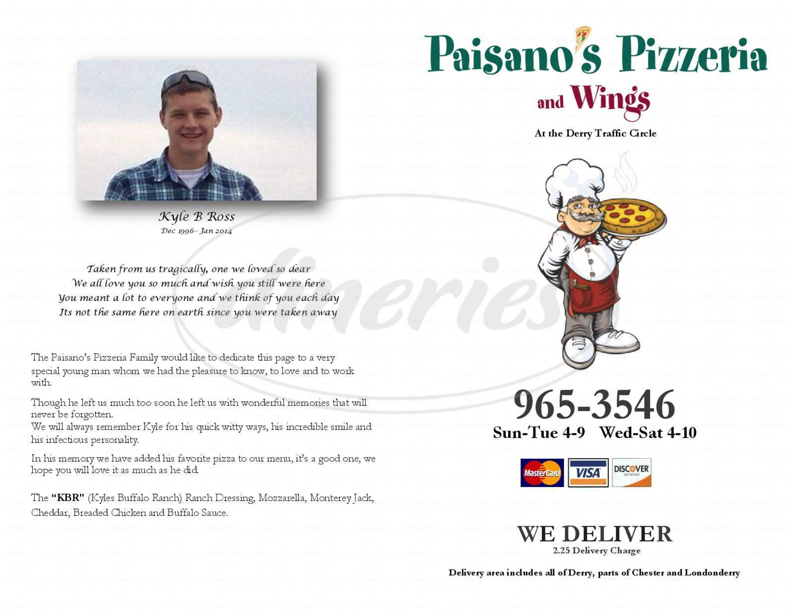 menu for Paisano's Pizzeria