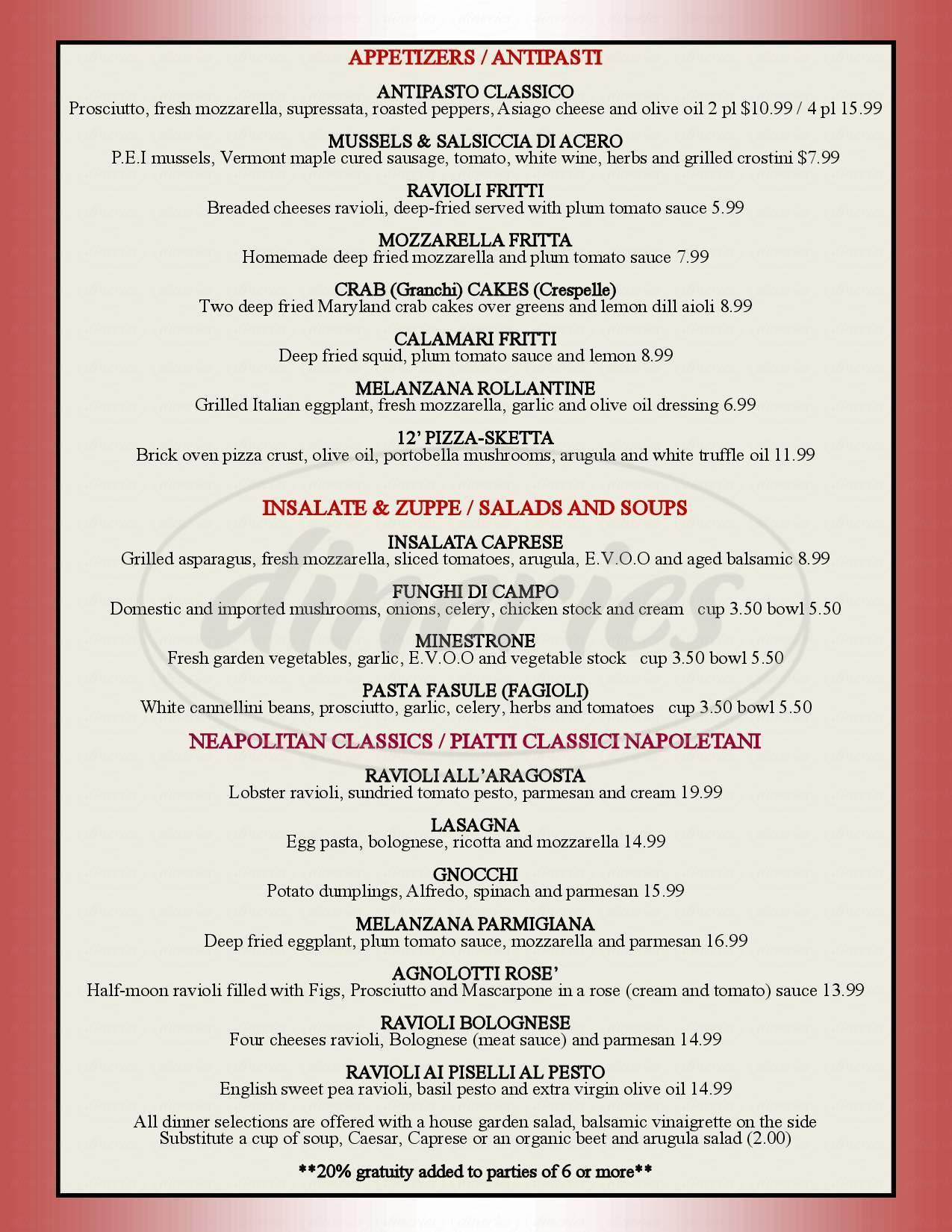 menu for Pasquale's Ristorante