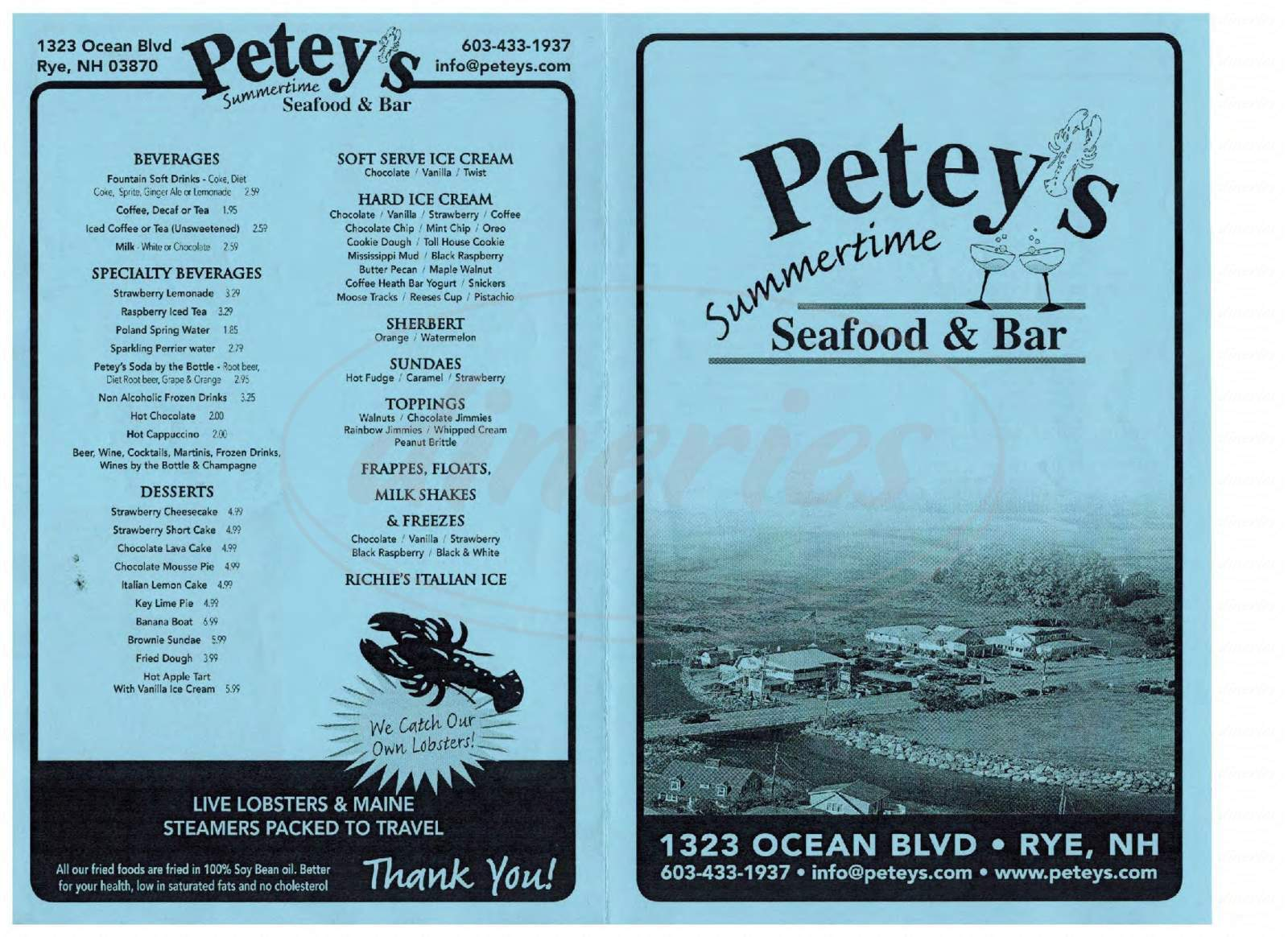 menu for Petey's Summertime Seafood & Bar