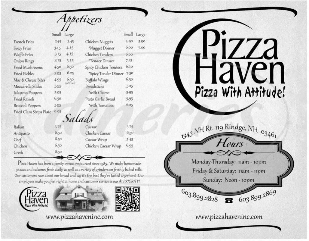 menu for Pizza Haven