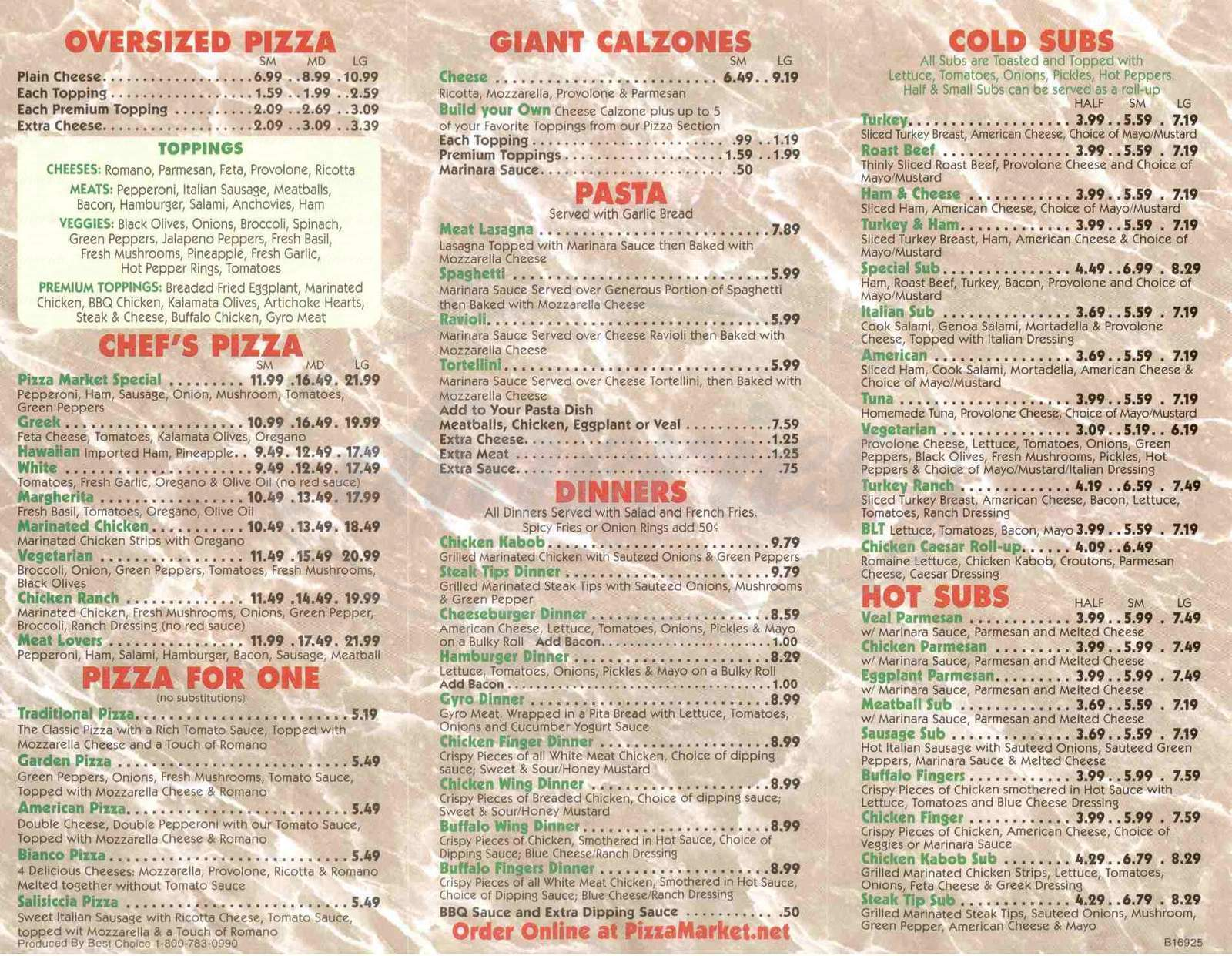 menu for Pizza Market