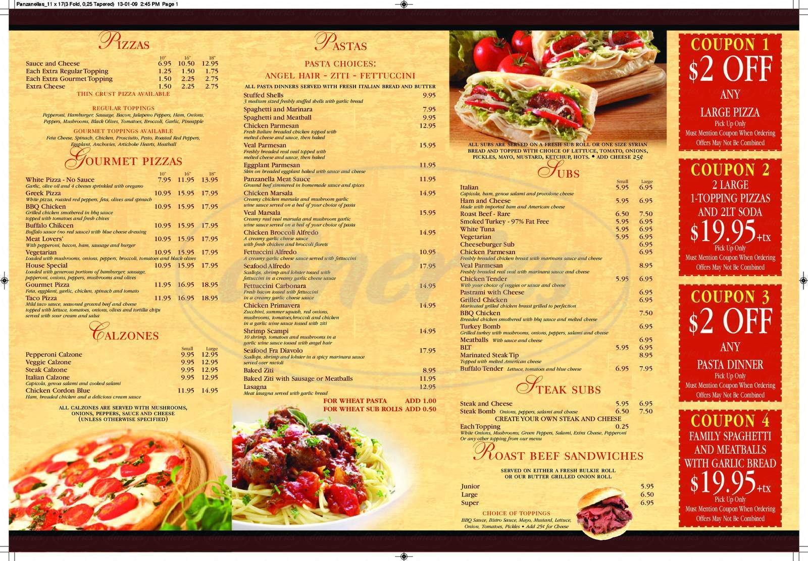 menu for Panzanellas Italian Pizzeria & Restaurant