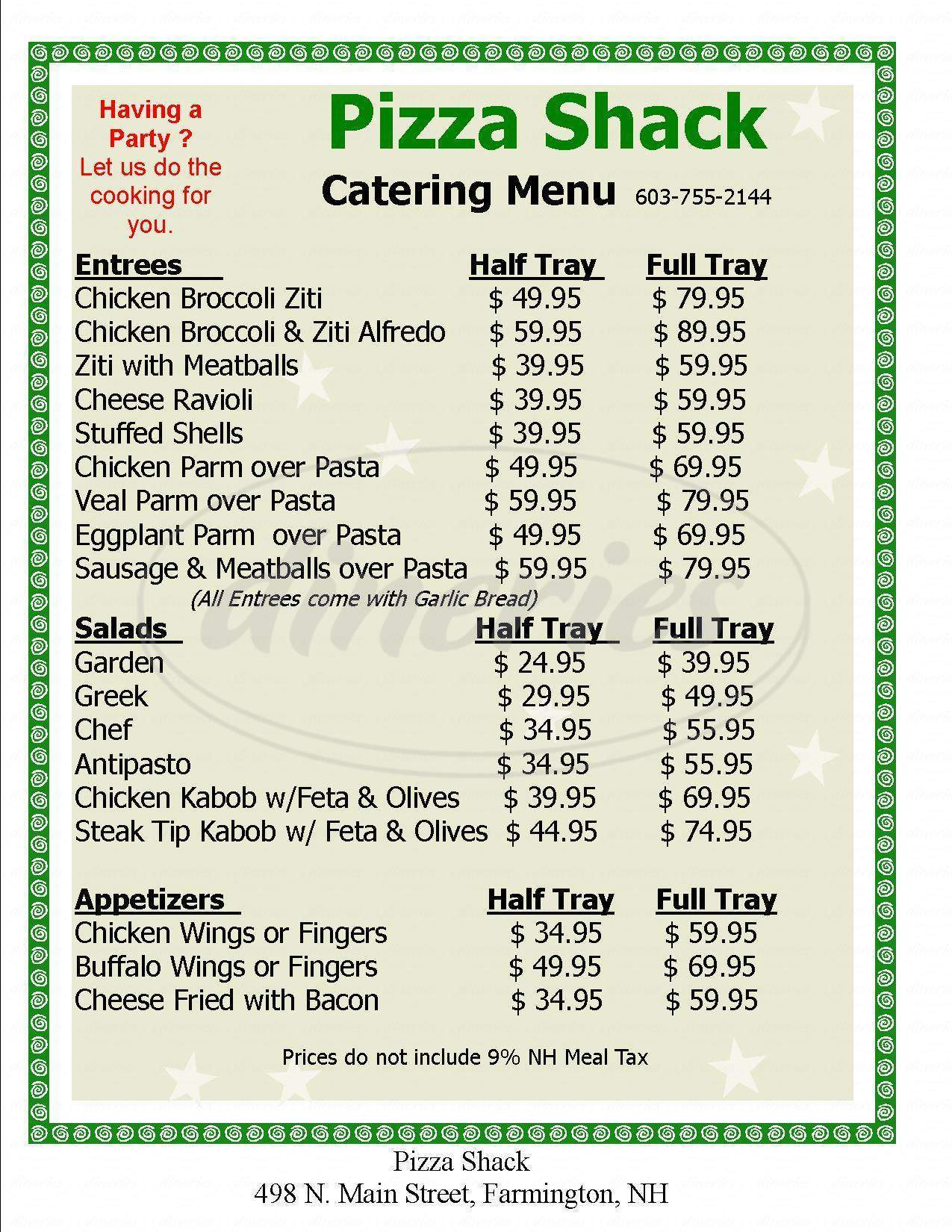 menu for The Pizza Shack