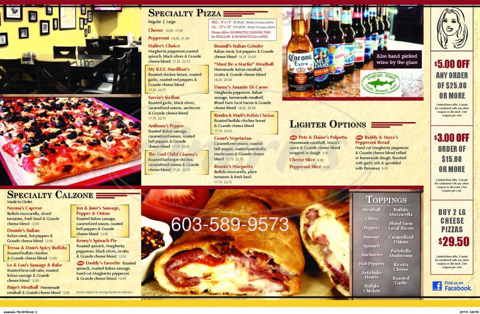 menu for Pizzeria Maria