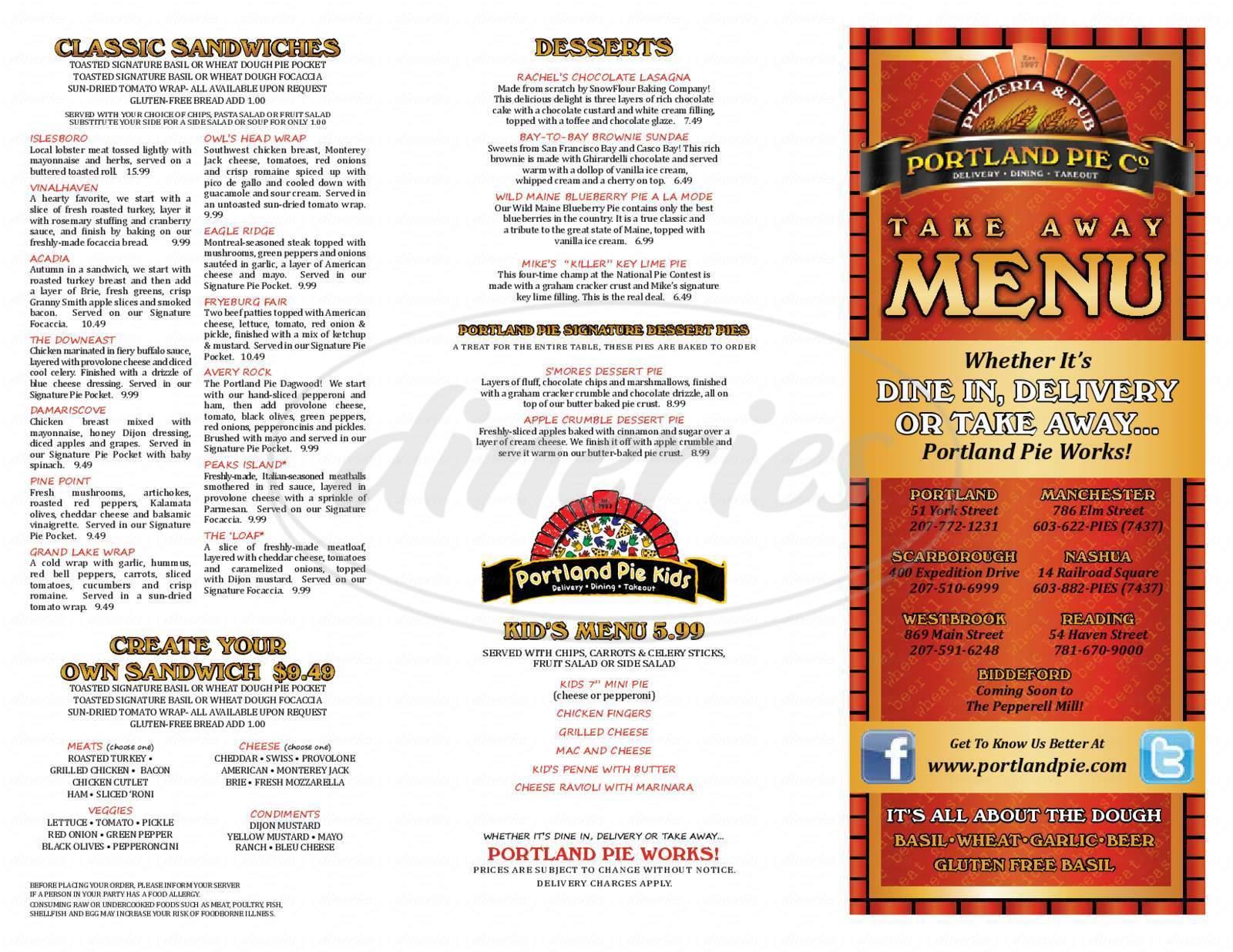 menu for Portland Pie Co