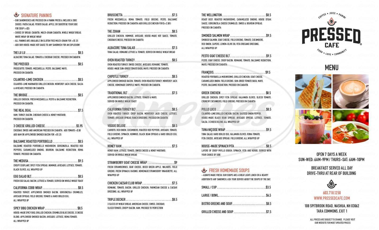 menu for Pressed Café