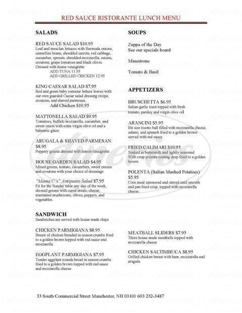 menu for Red Sauce Ristorante