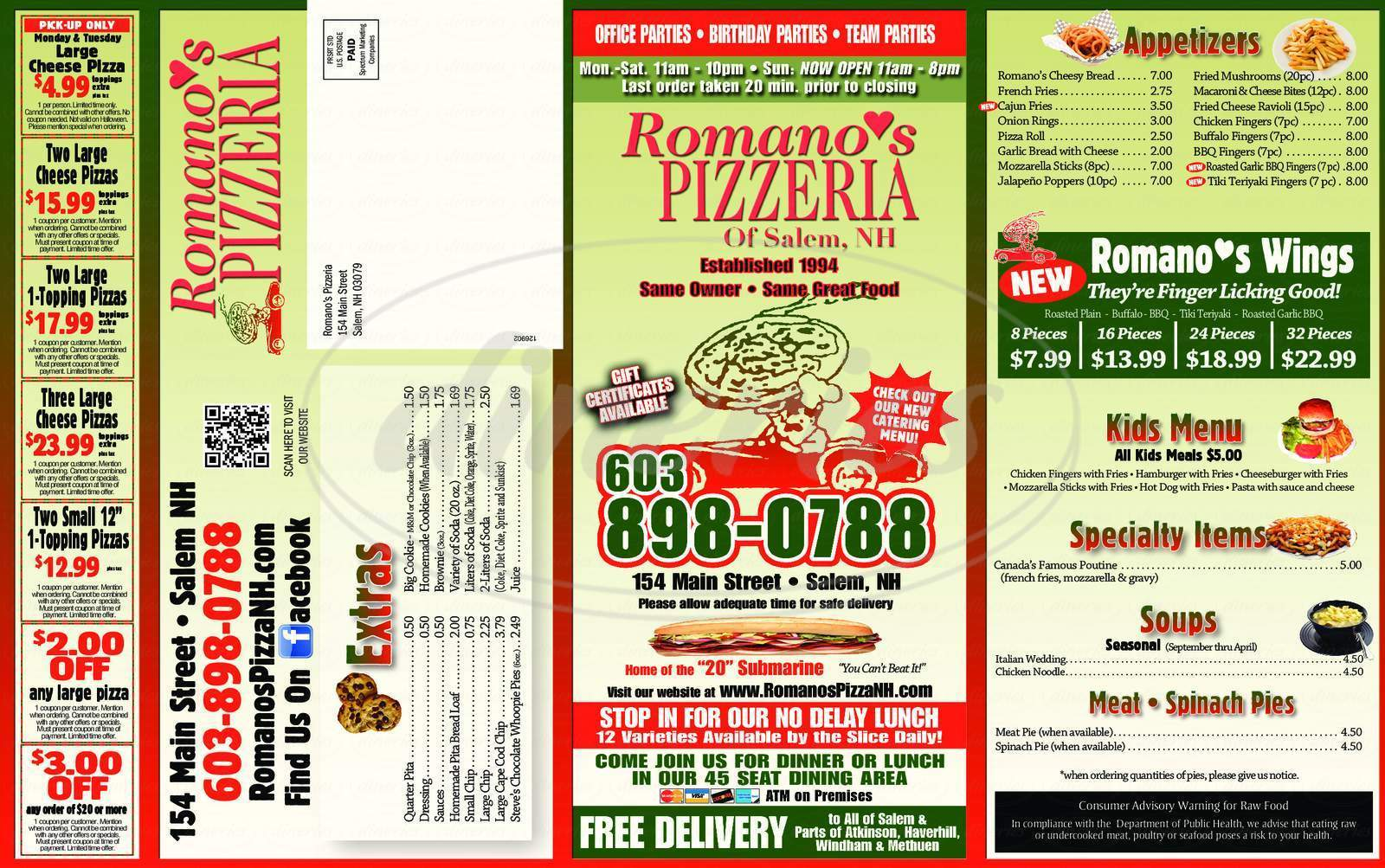 menu for Romano's Pizza