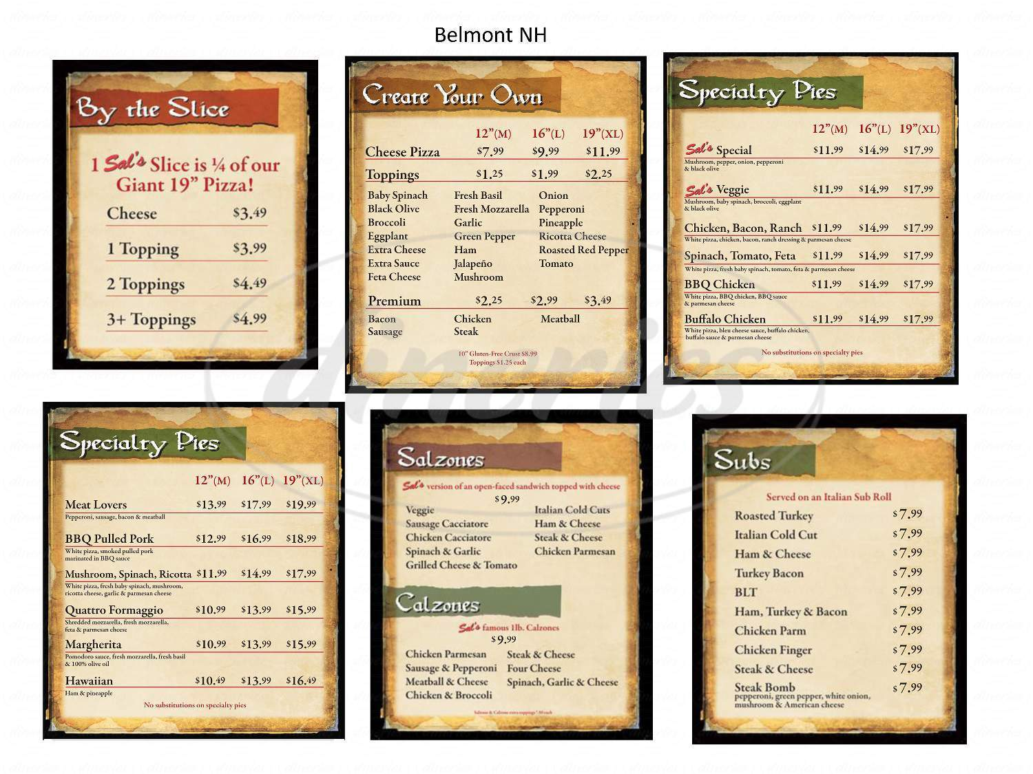 menu for Sal's Pizza