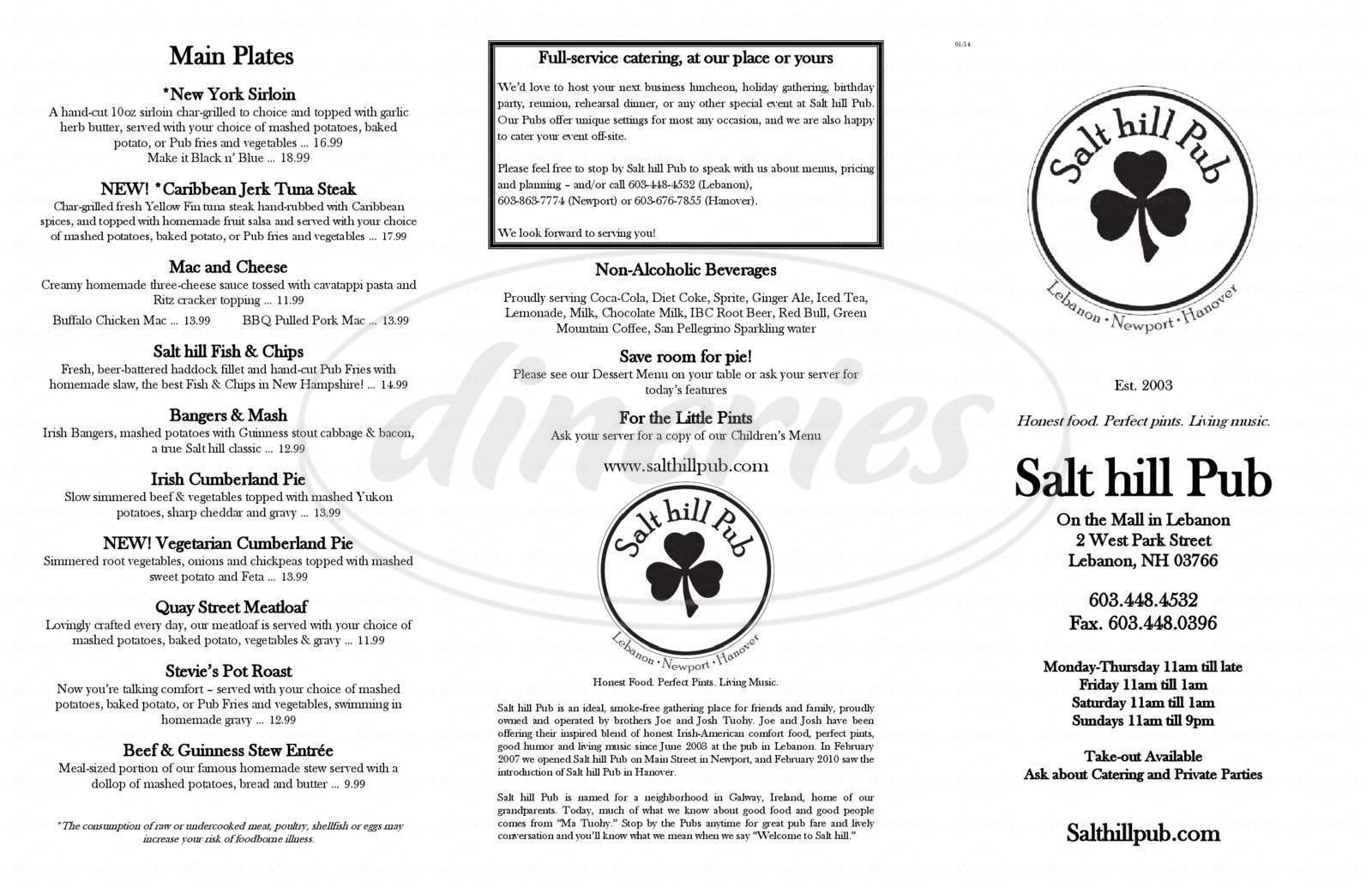 menu for Salt Hill Pub