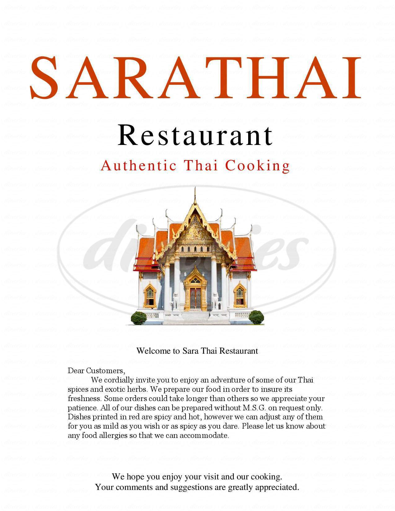 menu for Sara Thai Restaurant