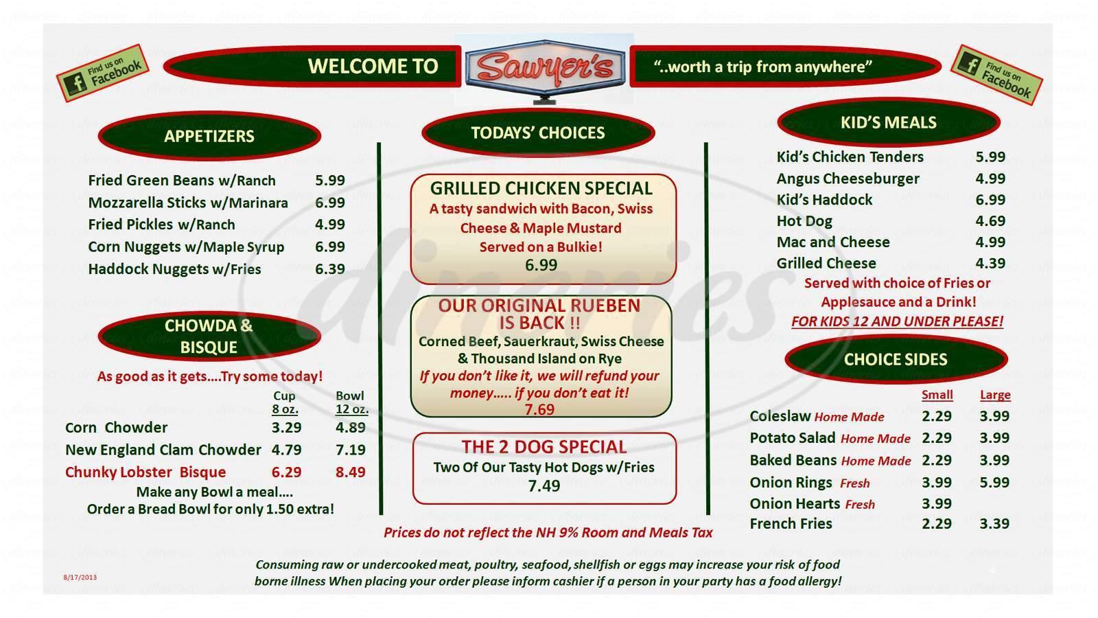 menu for Sawyer's Dairy Bar