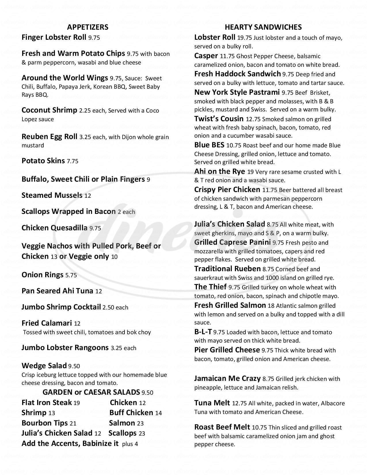 menu for Shibley's At The Pier