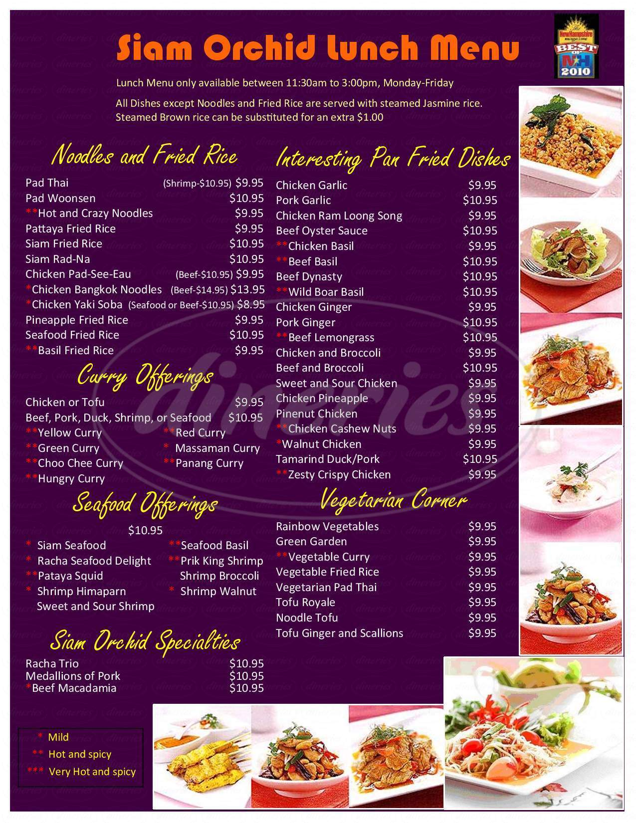 menu for Siam Orchid