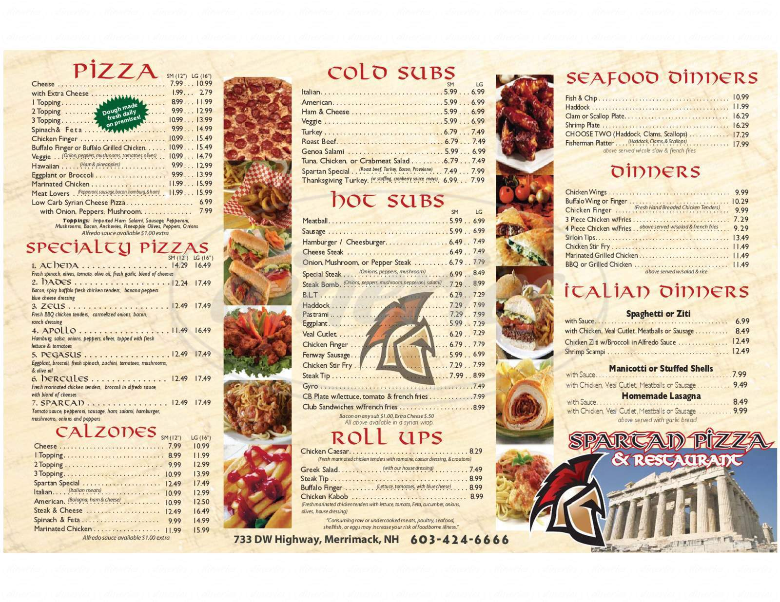 menu for Spartan Pizza
