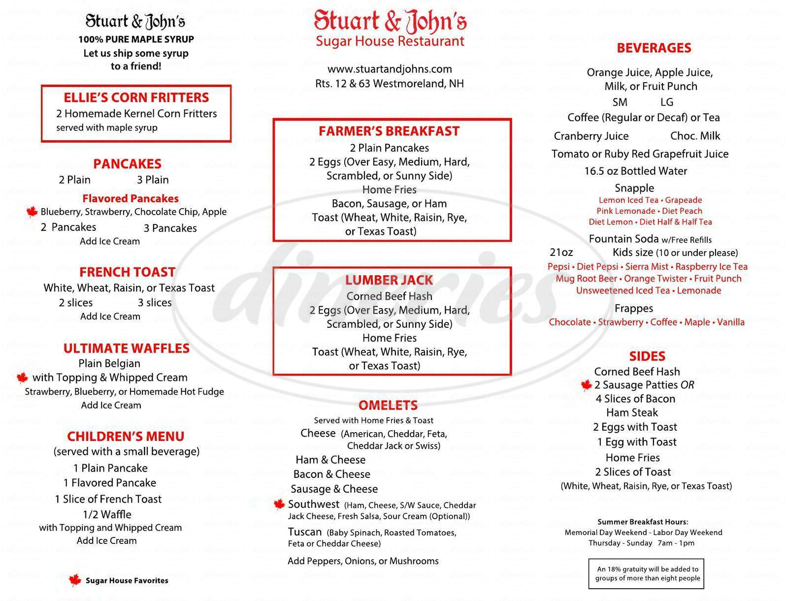 menu for Stuart & John's Sugar House