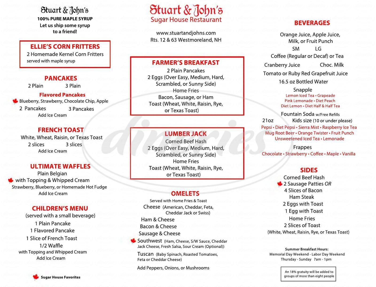 menu for Stuart & John's Sugar House
