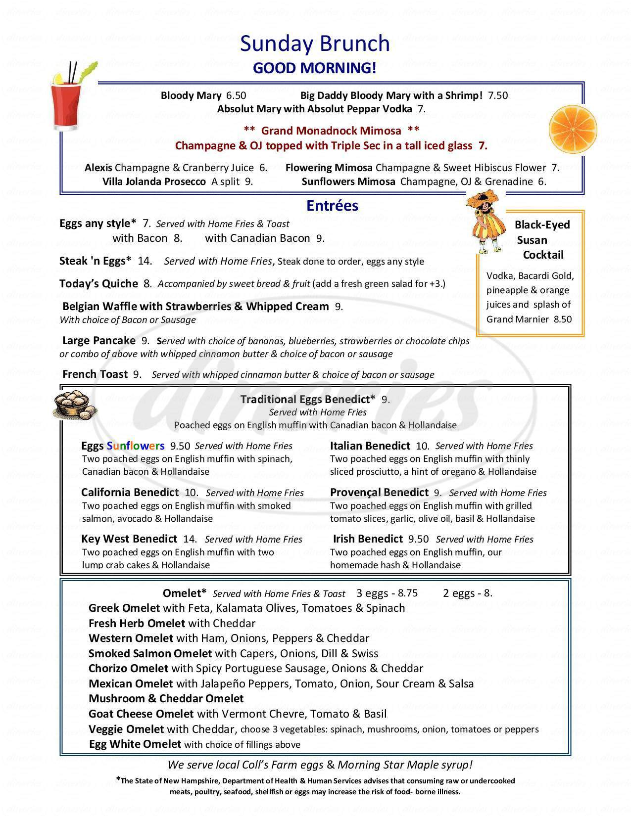 menu for Sunflower's Cafe and Catering