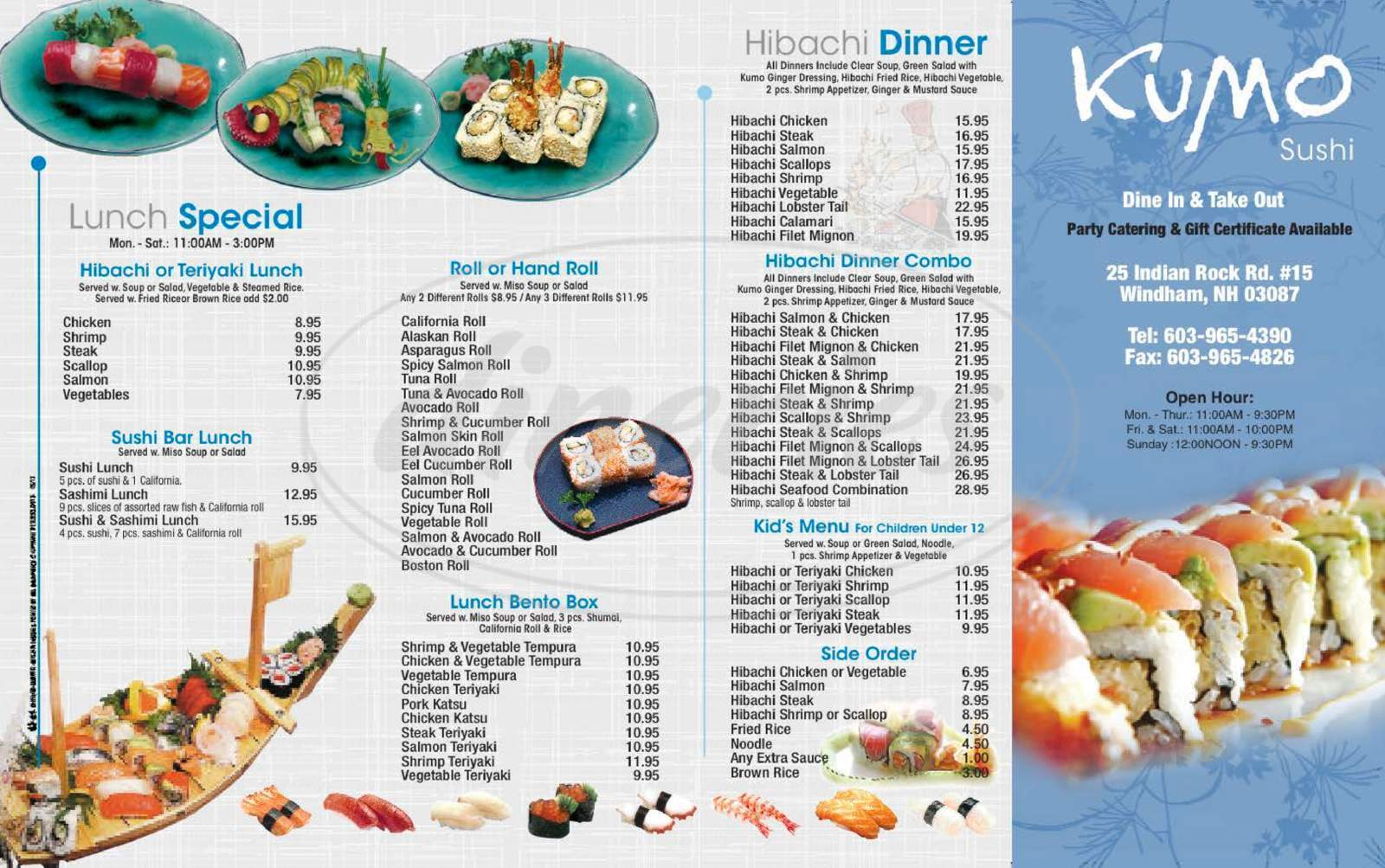 menu for Kumo Sushi & Hibachi