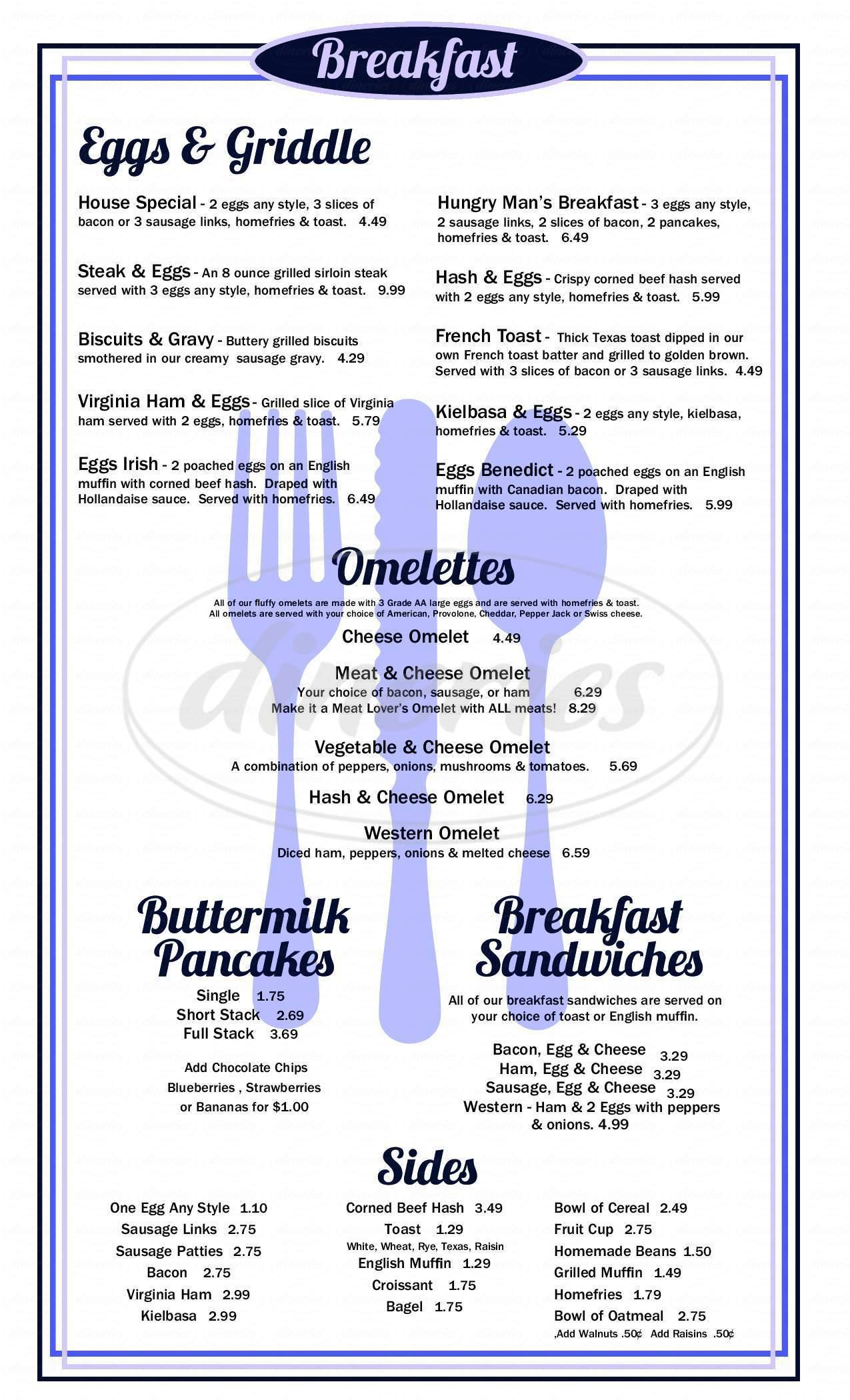 menu for Suzie's Diner