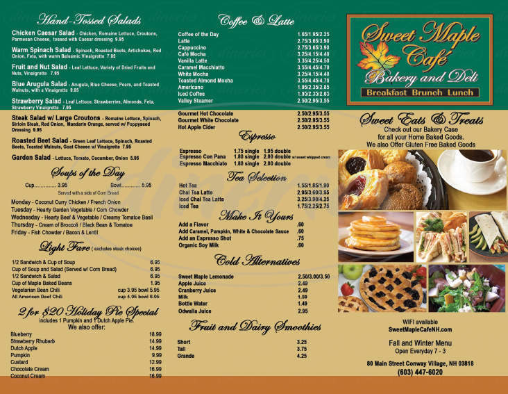 menu for Sweet Maple Cafe